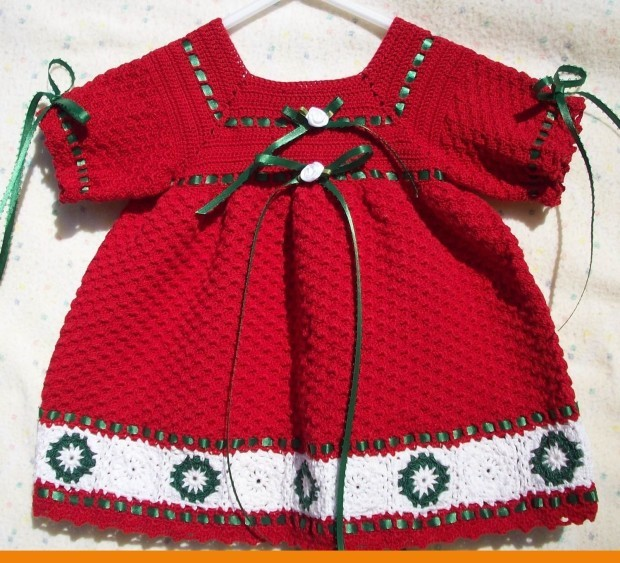 Baby-Girls-Crochet-Frock-Dress-red-color