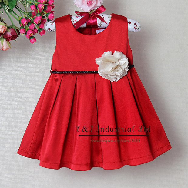 Baby-Girls-Flower-Pattern-Summer-Wear-Red-Princess-Girl-Party-Dresses-Special-Occasion-Kids-Clothing