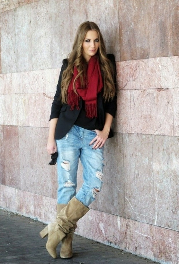 Casual-Winter-dresses-2015-Street-Style-look-fashionmaxi.com-zara-ankle-boots-booties-ray-ban-jeanslook