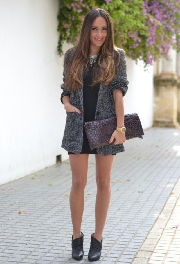 Chic-Tweed-Outfit-Idea - grey coat