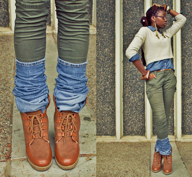 DIY denim Leg Warmers
