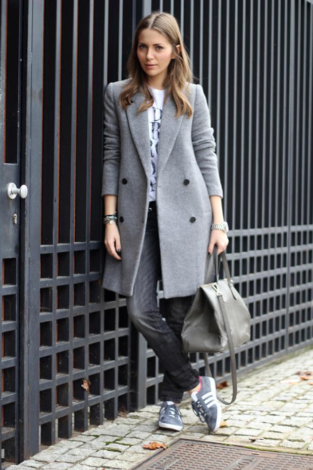 , zara gray coat, gray coat, zara jeans, dkny bag, adidas gazelle sneakers