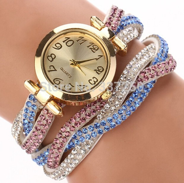 2015-2016 Colorful-Ladies-Luxury-Rhinestone-Wrap-Bracelet-Quartz-Wristwatches-Women-Dress-Watches-Relogio-Feminino