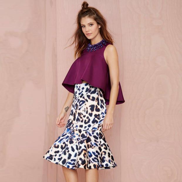 2015-New-Flared-Skirt-Leopard-Ruffles-Women-Fashion-Skirt-Knee-Length-Printed-Skirt-