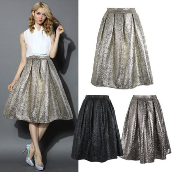 Luxury-Women-Pleuche-Midi-Skirt-New-Fashion-2015-Spring-Summer-Casual-Ball-Gown-Bling-Bling-Pleated