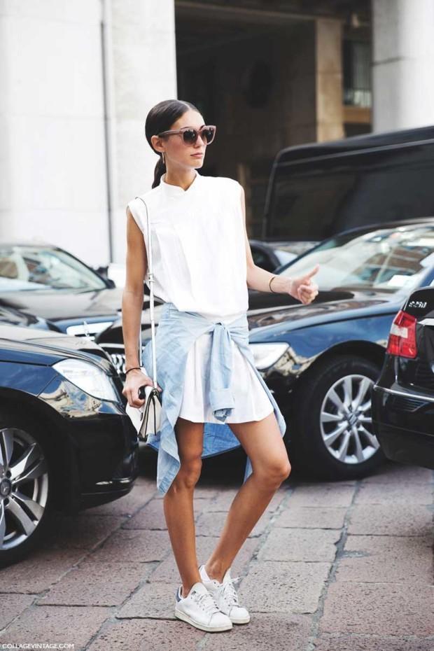 Milan_Fashion_Week_Spring_Summer_15-MFW-Street_Style-Diletta_Bonaiuti-White_Dress-Adidas_Stan-Sneakers