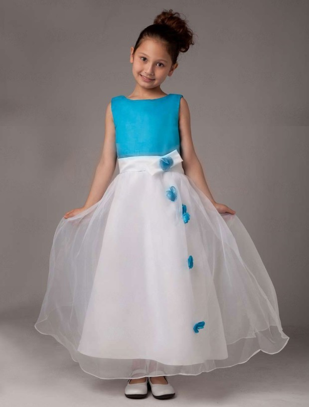 Sleeveless-Flower-Satin-Organza-Flower-Girl-Dress-