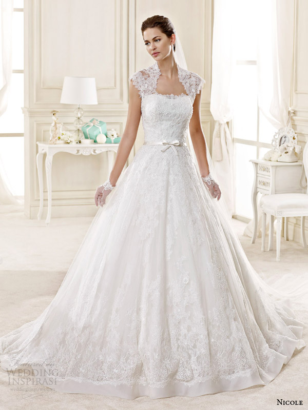 ball-gown-wedding-dress-lace-cap-sleeves 2015 -fashionbeautynews