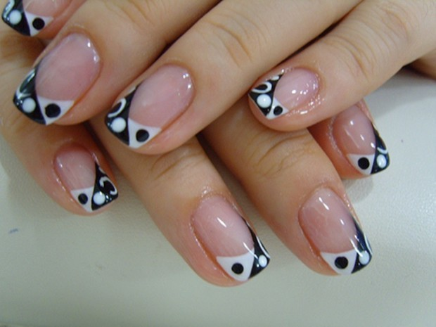 white-black nail designs