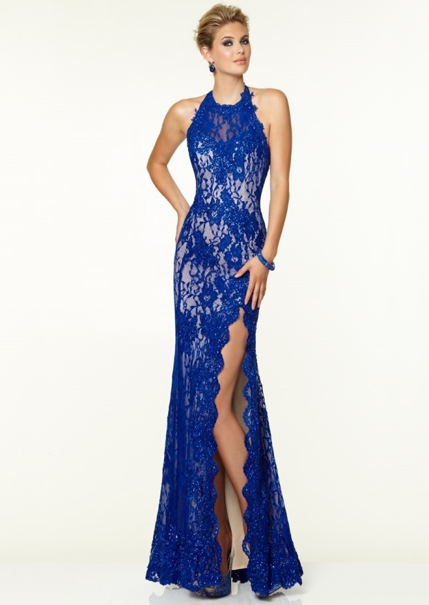 2015 New Halter Neck Floor Length High Slit Royal Blue Backless Lace Prom Dresses 2015