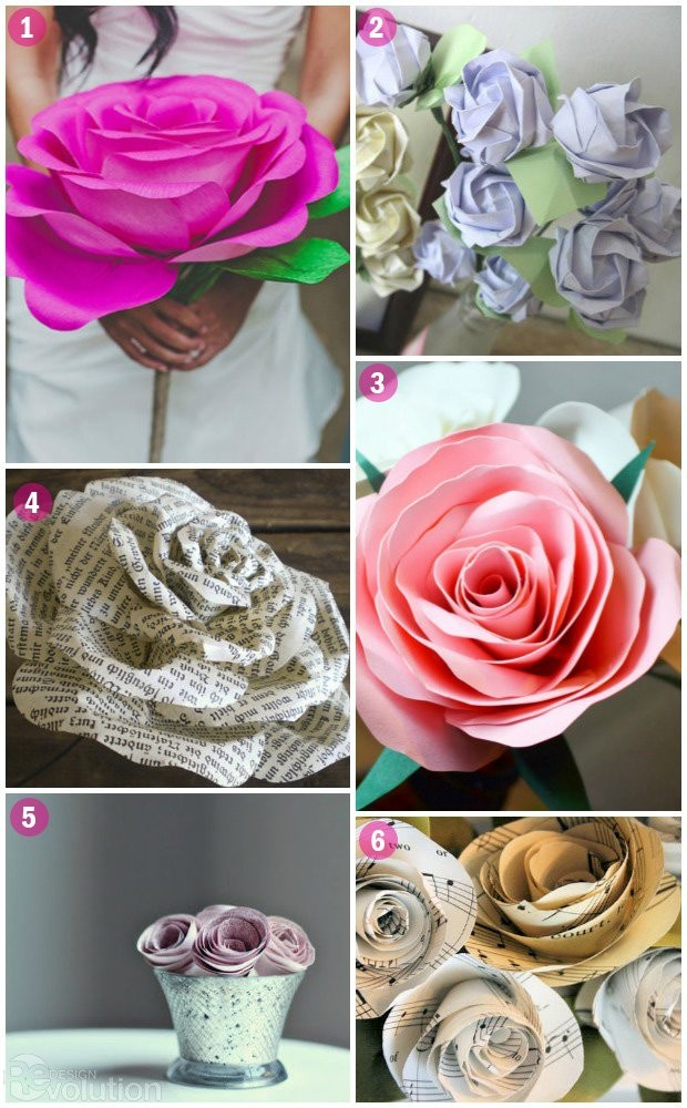 DIY-Paper-Roses-National-Rose-Month diy wedding decorations
