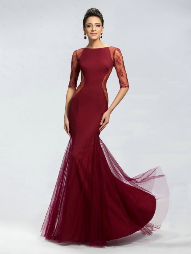 Mermaid Style Bateau Neck Full Length Tulle Sheer Lace Applique Burgundy 2015 prom dresses