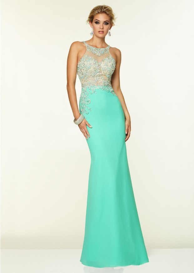 Round Neck Sheath Sheer Beaded Floor Length Light Turquoise Prom Party Dress