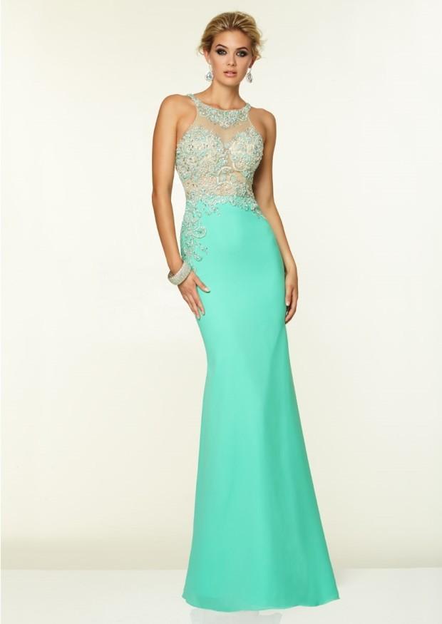 Round Neck Sheath Sheer Beaded Floor Length Light Turquoise Prom Party Dress