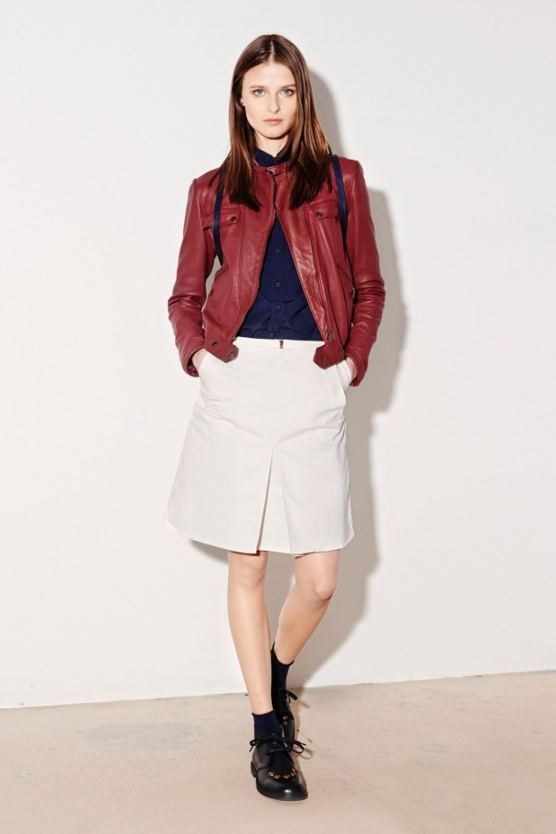 Tomas-Maier-skirt and leather jacket