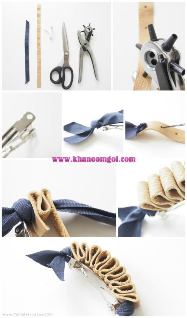 diy leather hair clips-tutorial-