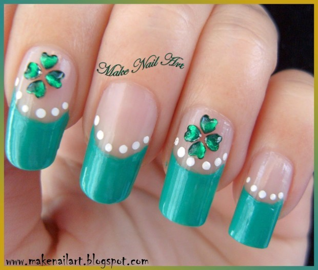 four leaf clover st patrick day nails