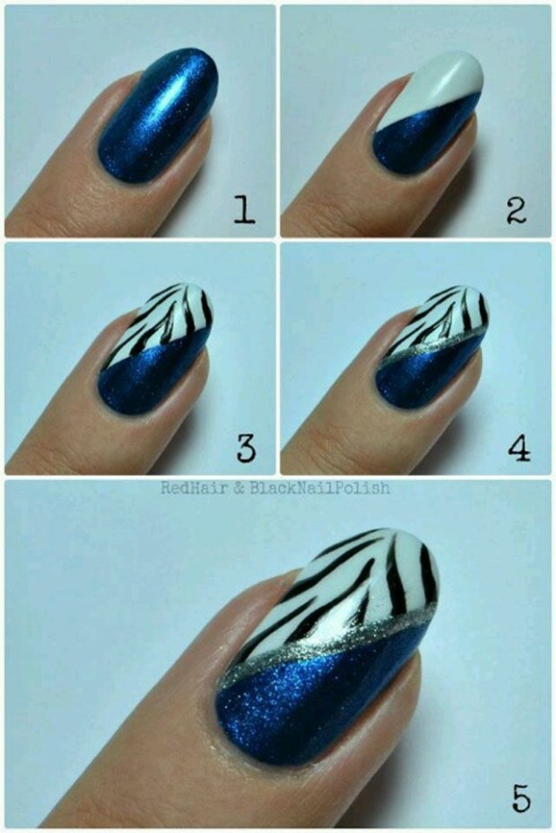 general-nail-design-tutorials-enchanting-blue-glitter-with-zebra-print-accent-nail-art-design-tutorial-step-by-step-nail-art-tutorial