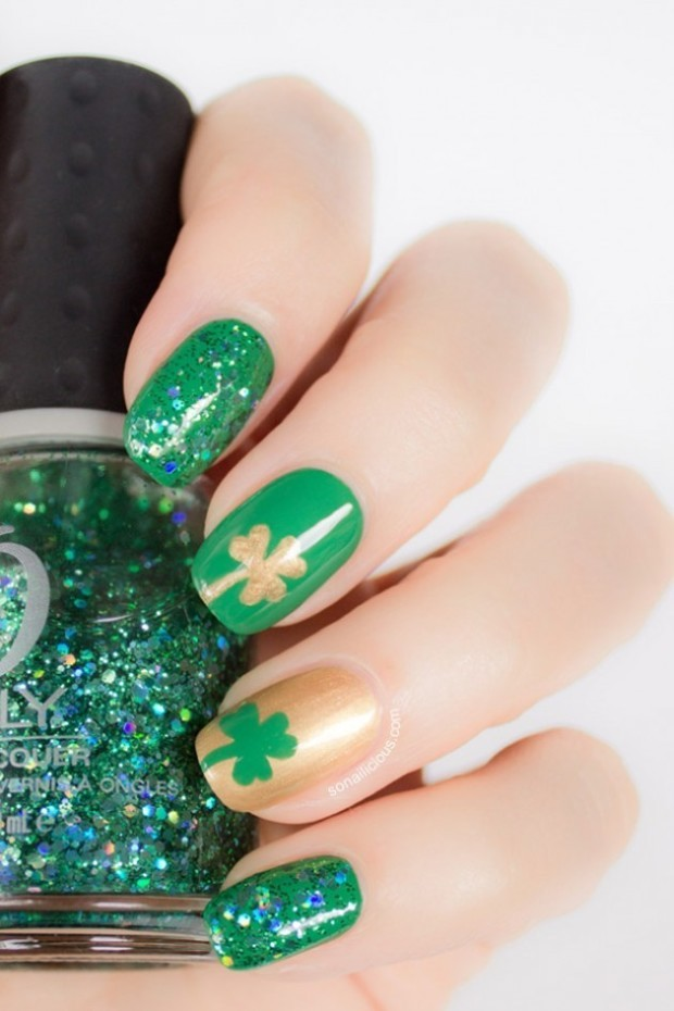 green shamrock nails - st. patricks day nail designs-