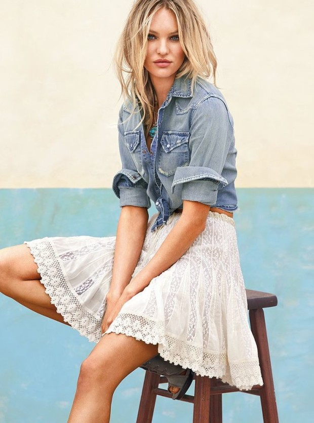 lace white skirt street style