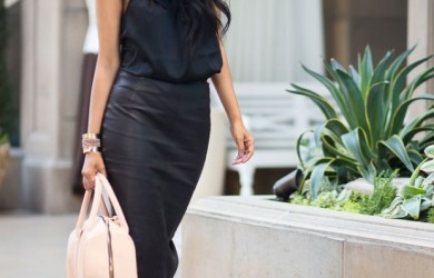 leather-pencil-midi skirt