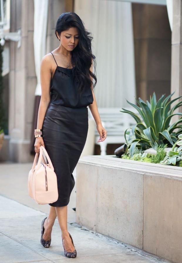 leather-pencil-midi skirt