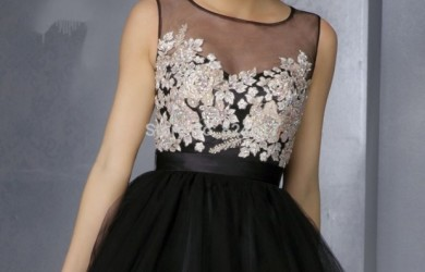 short-black-lace-prom-dresses-2015