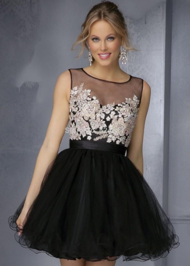 short-black-lace-prom-dresses-2015