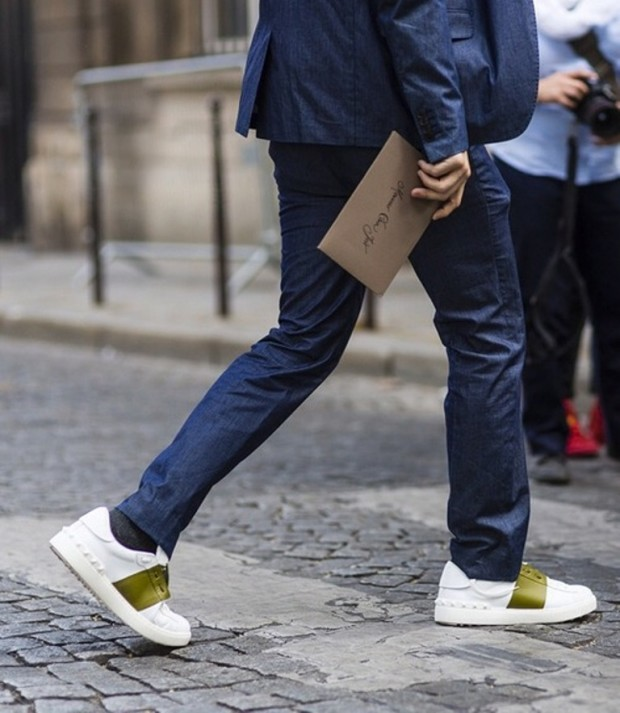 valentino stripe sneakers shoes green band white sneakers valentino 2015