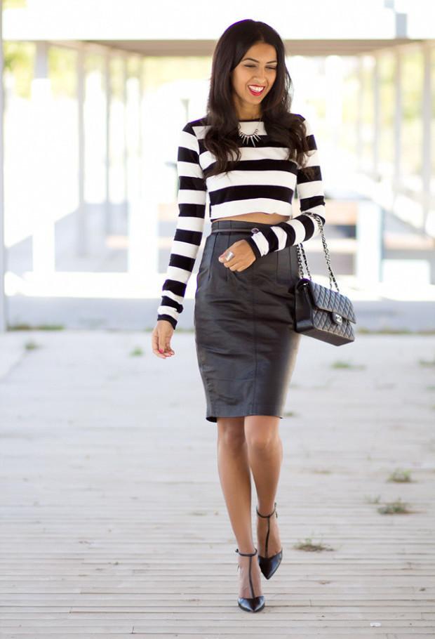 white-black-shirt-blouses leather pencil skirts