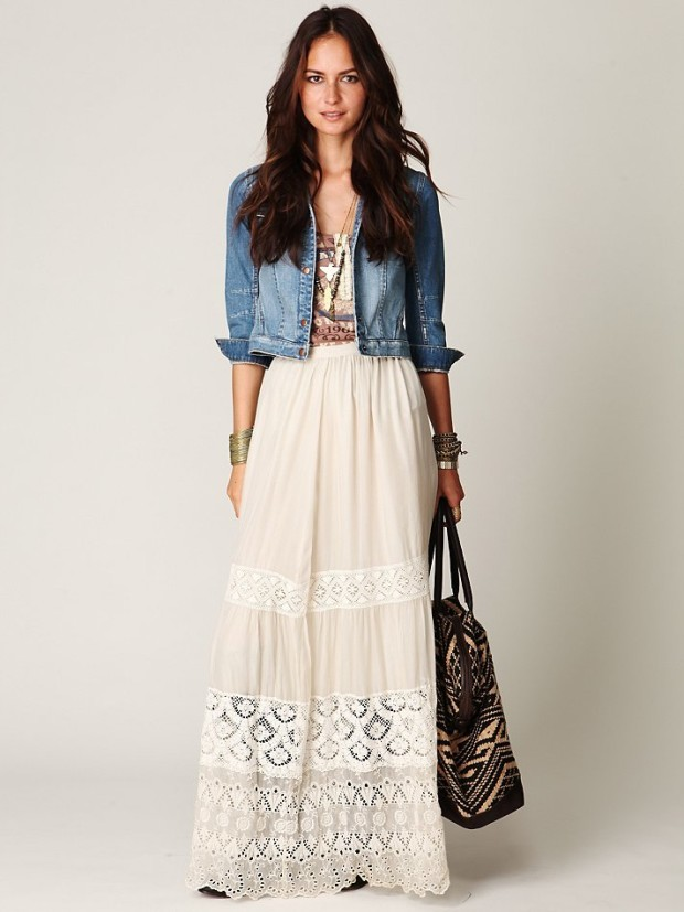 Denim-Jackets-with-Maxi-Skirts-