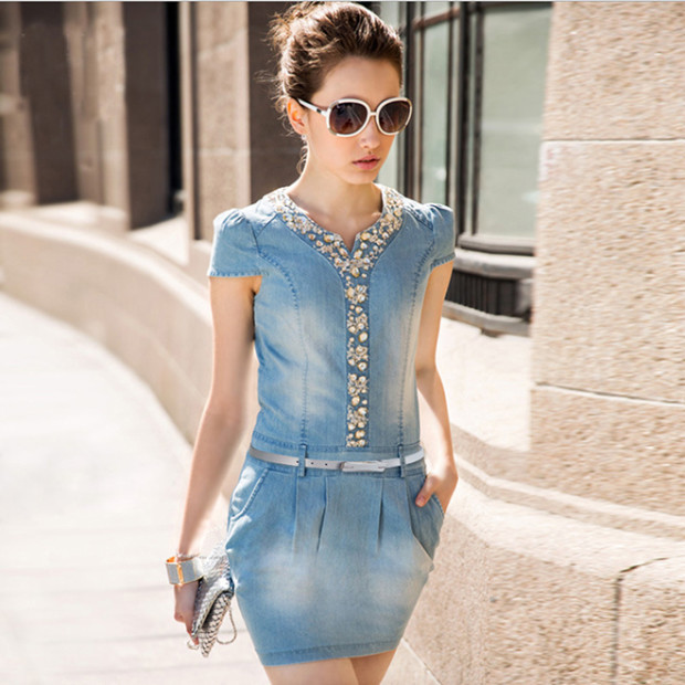 New-for-2015-summer-women-s-organic-cotton-denim-dress-Fashionbeautynews