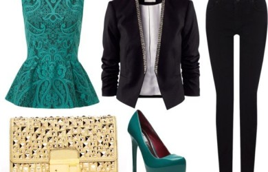 Polyvore Combos With Peplum Tops