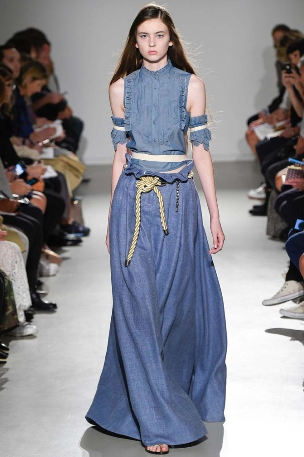 denim-ruffled-shirt-maxi-skirt-spring-2015-