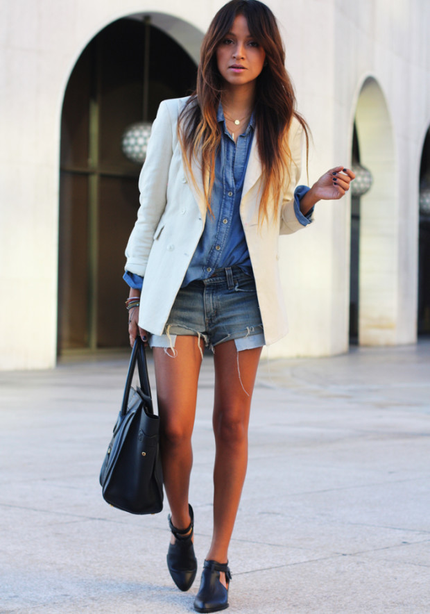 denim-shirt-wirh shorts