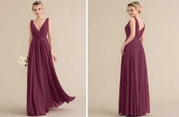 Bridesmaid dress - princess v neck floor length chiffon with ruffle for unforgettable wedding
