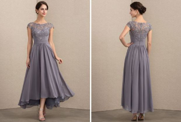 Mother of the bride dress - princess scoop neck asymmetrical chiffon lace for unforgettable wedding