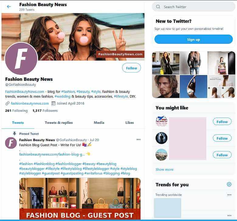 Follow Fashion Beauty News at Twitter!